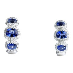 1.70 Carat Vivid Blue Sapphire and 0.31 Carat Diamond Lever-Back Stud Earrings