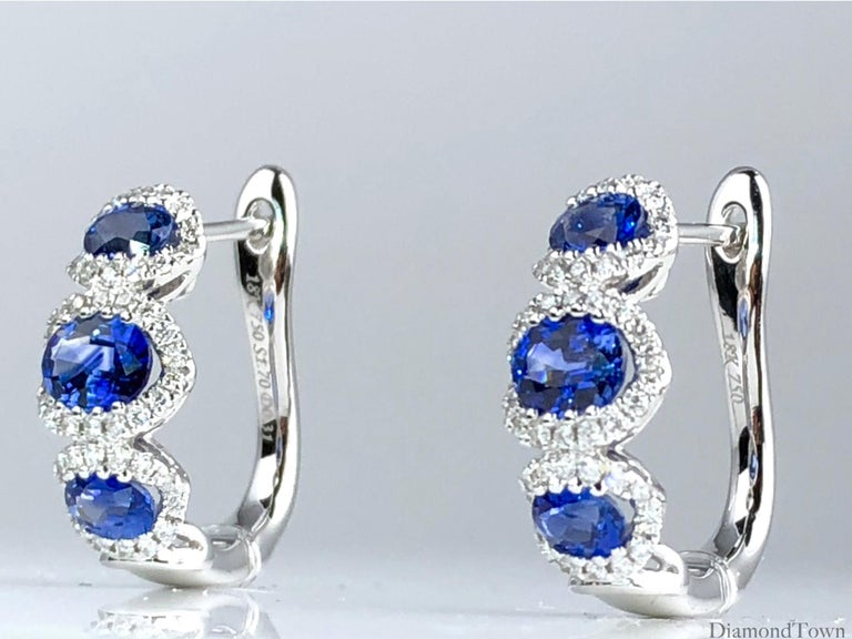 1.70 Carat Vivid Blue Sapphire and 0.31 Carat Diamond Lever-Back Stud Earrings In New Condition For Sale In New York, NY