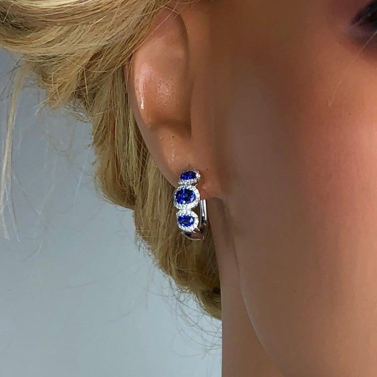 Women's 1.70 Carat Vivid Blue Sapphire and 0.31 Carat Diamond Lever-Back Stud Earrings For Sale