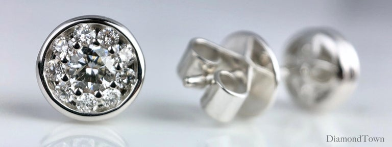 Contemporary 0.41 Carat Diamond Cluster Bezel Studs in 18 Karat White Gold For Sale