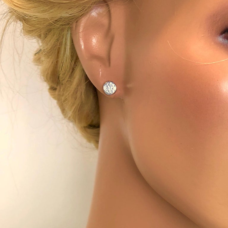 0.41 Carat Diamond Cluster Bezel Studs in 18 Karat White Gold In New Condition For Sale In New York, NY