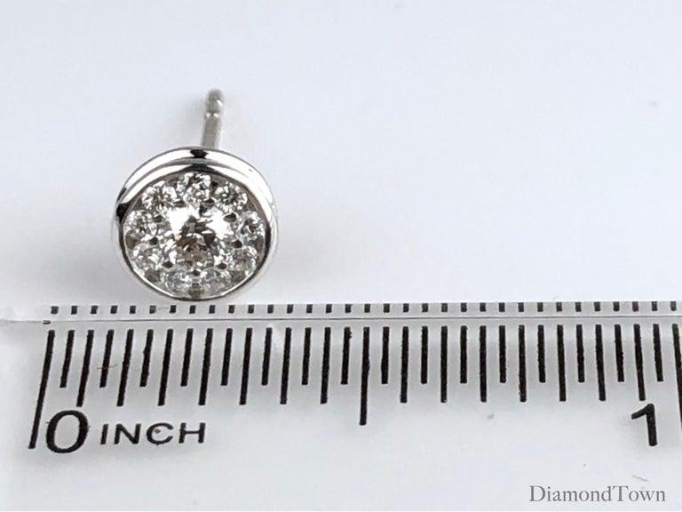 Women's 0.41 Carat Diamond Cluster Bezel Studs in 18 Karat White Gold For Sale