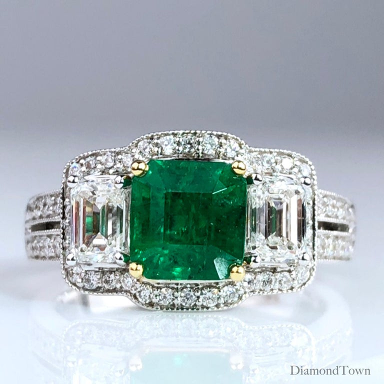 Cushion Cut 1.10 Carat Colombian Emerald and 1.03 Carat Diamond Ring in 18 Karat White Gold For Sale