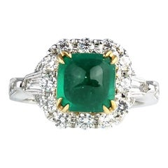 1.45 Carat Sugarloaf Colombian Emerald and Diamond Ring by DiamondTown