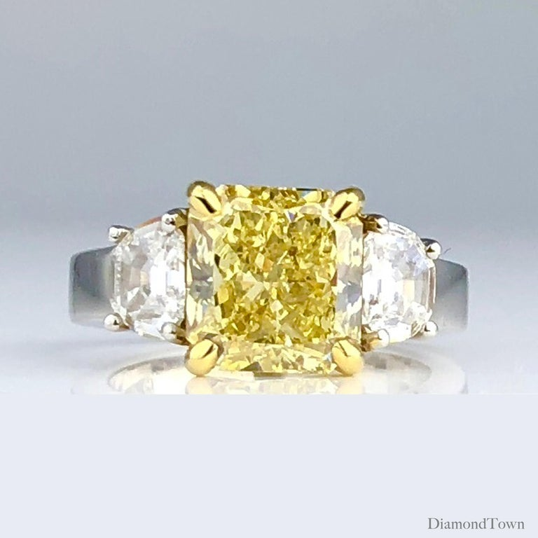 Radiant Cut GIA Certified 4.09 Carat Natural Fancy Yellow Diamond Ring in Platinum/18K Gold For Sale