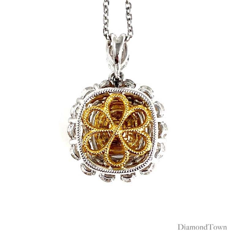 GIA Certified 0.66 Carat Natural Fancy Yellow Diamond Pendant with Halo In New Condition For Sale In New York, NY