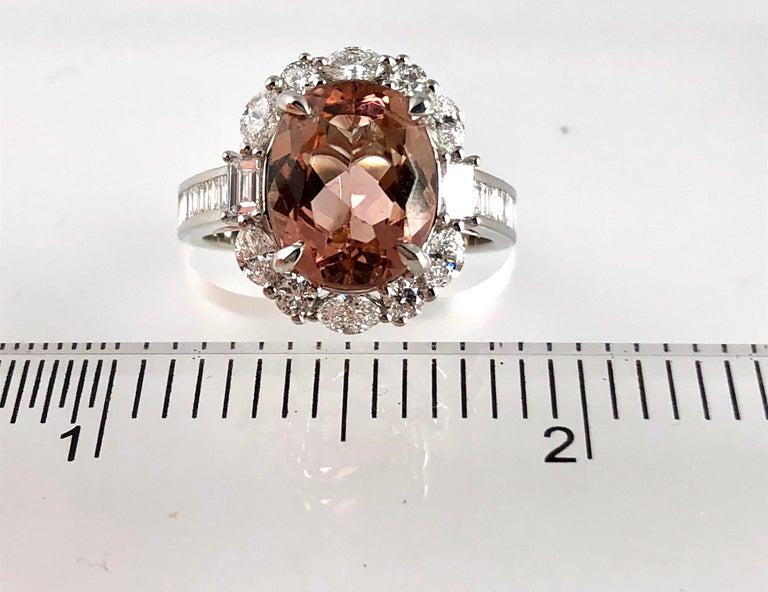Oval Cut 3.76 Carat Oval Cushion Cut Peach Tourmaline and Diamond Ring in 18 Karat Gold For Sale