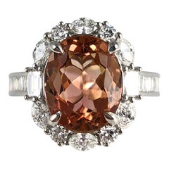3.76 Carat Oval Cushion Cut Peach Tourmaline and Diamond Ring in 18 Karat Gold