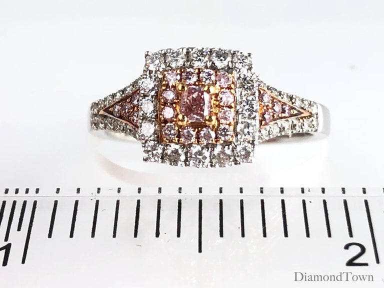 0.64 Carat Natural Pink Color Diamond Halo Ring in 18 Karat White and Rose Gold In New Condition For Sale In New York, NY