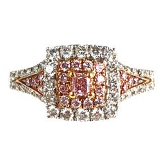 0.64 Carat Natural Pink Color Diamond Halo Ring in 18 Karat White and Rose Gold