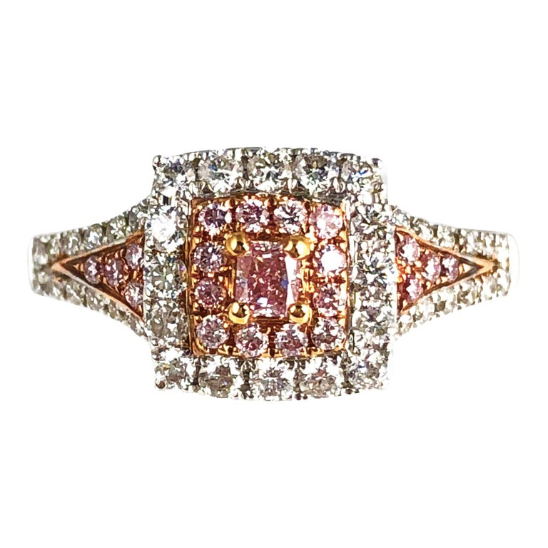 0.64 Carat Natural Pink Color Diamond Halo Ring in 18 Karat White and Rose Gold For Sale