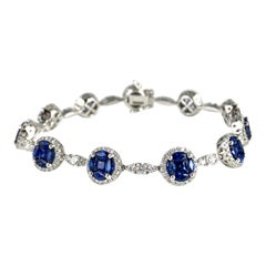 6.30 Carat Sapphire and 2.17 Carat Diamond Tennis Bracelet in 18 Karat Gold