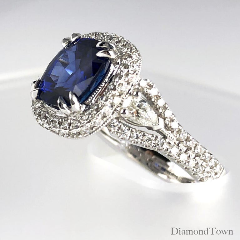 Contemporary 3.59 Carat Cushion Cut Blue Sapphire and Diamond Ring in 18 Karat White Gold For Sale