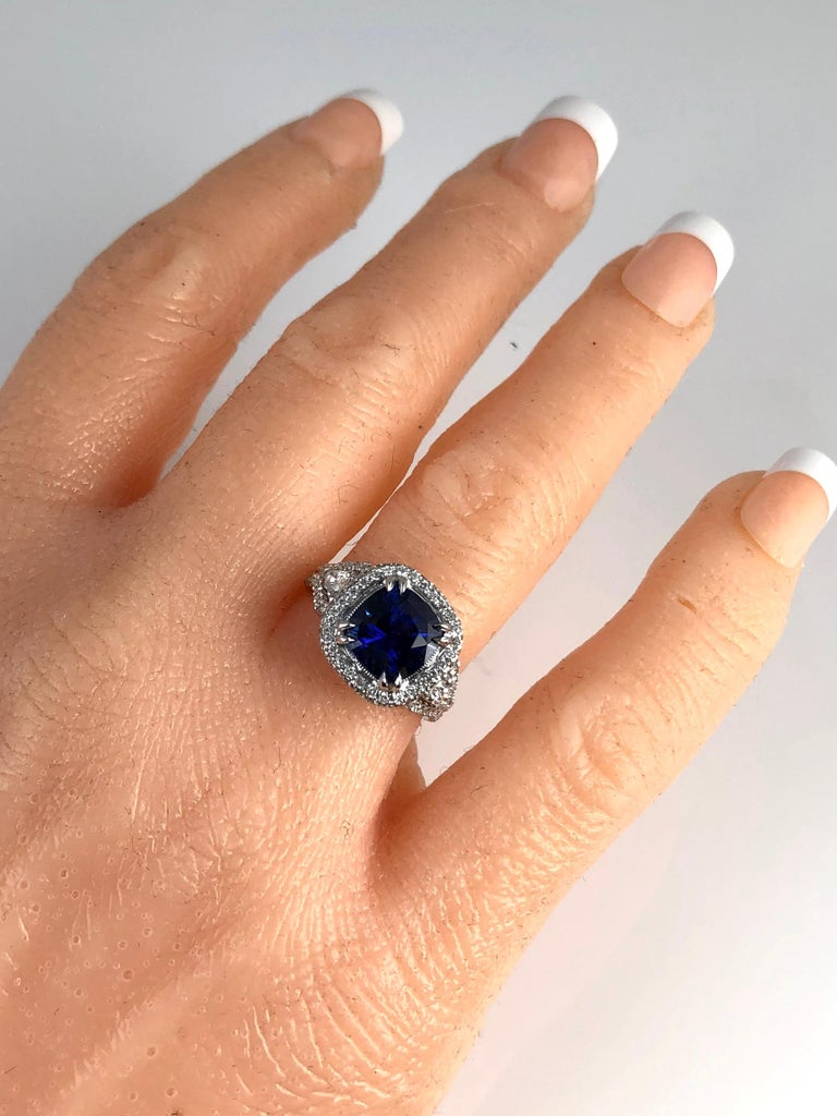 3.59 Carat Cushion Cut Blue Sapphire and Diamond Ring in 18 Karat White Gold In New Condition For Sale In New York, NY
