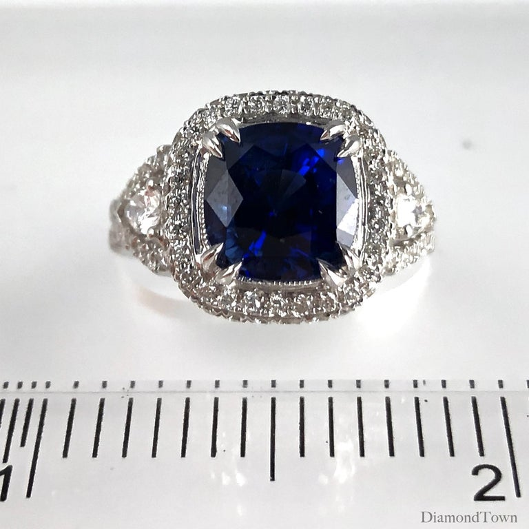 Women's 3.59 Carat Cushion Cut Blue Sapphire and Diamond Ring in 18 Karat White Gold For Sale