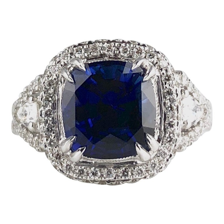 3.59 Carat Cushion Cut Blue Sapphire and Diamond Ring in 18 Karat White Gold For Sale