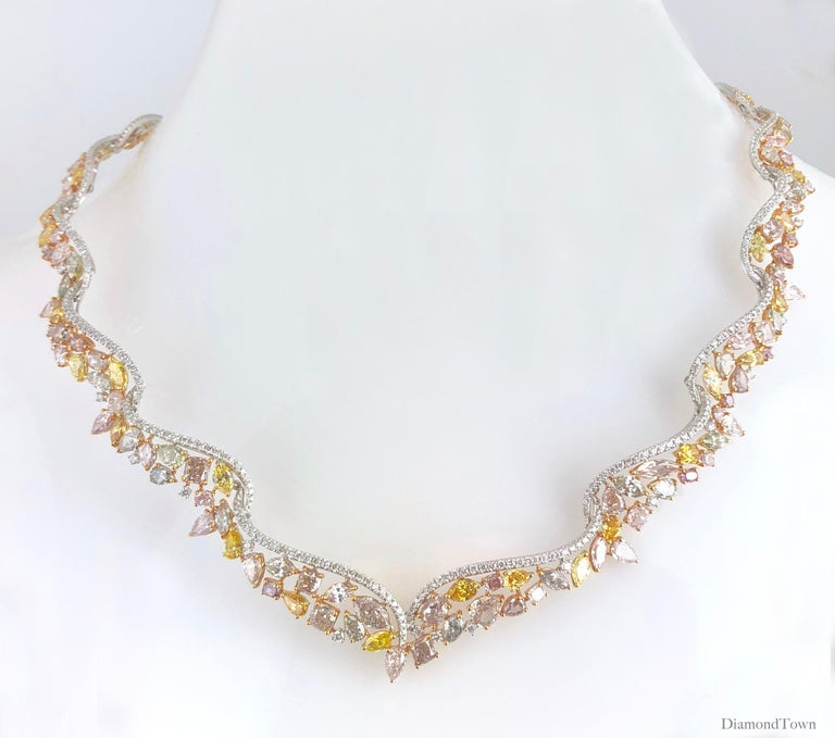 Contemporary 29.43 Carat Handcrafted Natural Color Diamond Tiara Necklace by Diamond Town For Sale