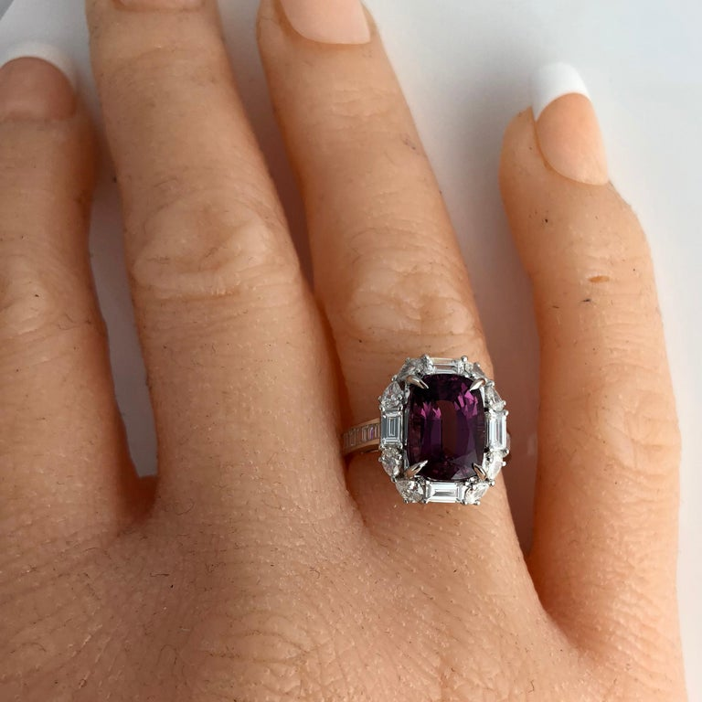 Contemporary 2.80 Carat Cushion Cut Raspberry Garnet and Diamond Halo Cluster Ring For Sale