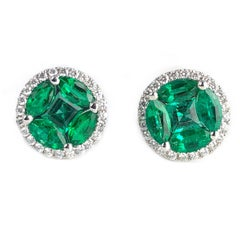 1.28 Carat Emerald and 0.22 Carat Diamond Stud Earrings in 18 Karat White Gold