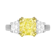 GIA Certified 2.25 Carat Natural Fancy Yellow Diamond Ring in Platinum/18K Gold