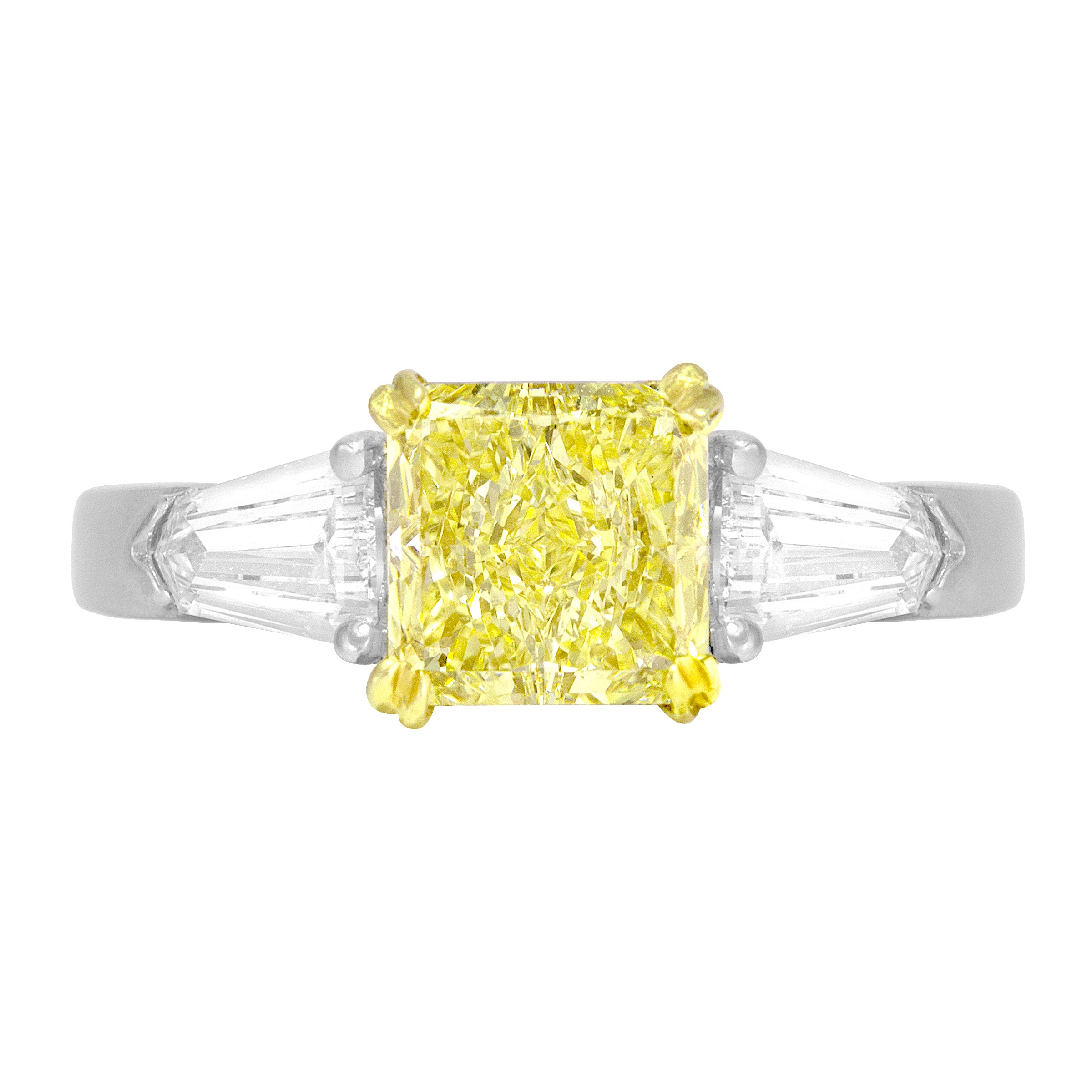 DiamondTown GIA Certified 1.08 Carat Fancy Light Yellow Diamond 3-Stone Ring