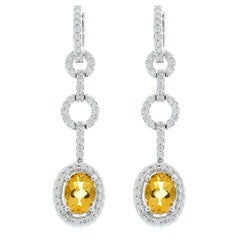 2.50 Carat Total Oval Checkerboard Citrine and Diamond Dangle Earrings