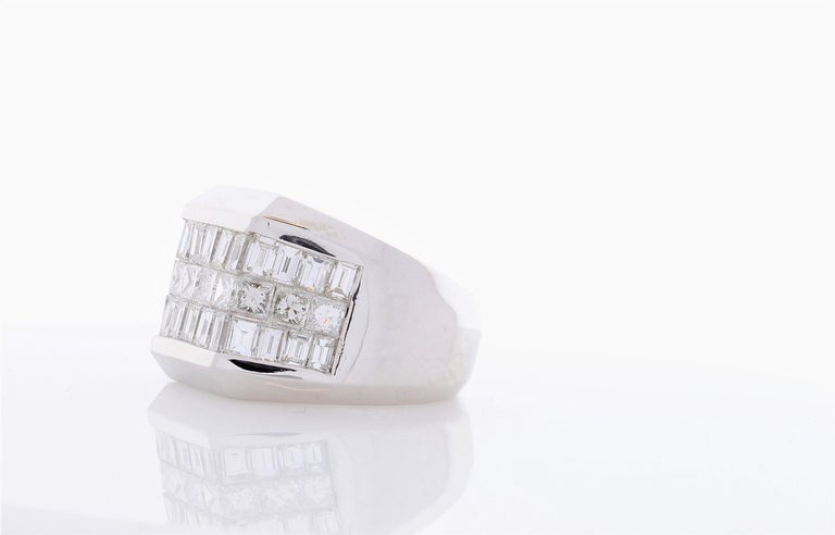 Baguette Cut 4.01 Carat Total Invisible Set Baguette and Princess cut Diamond Cocktail Ring For Sale