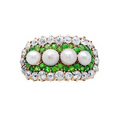 Victorian Demantoid Diamond and Pearl Cluster Ring