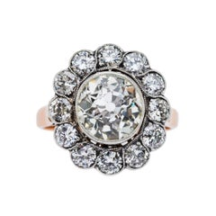 Art Deco Era 2.80 Carat Diamond Cluster Halo Engagement Ring