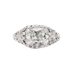 Edwardian 1.76 Carat Cushion Cut Diamond Antique Platinum Engagement Ring