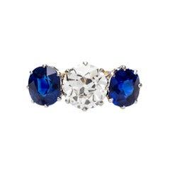 Victorian 1.41 Carat Diamond and Sapphire Three-Stone Ring