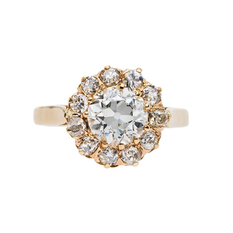 Victorian 1.18 Carat Diamond Halo Engagement Ring