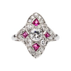 Art Deco Ruby and Diamond Platinum Navette Ring