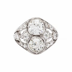 Art Deco Double Diamond Platinum Engagement Ring