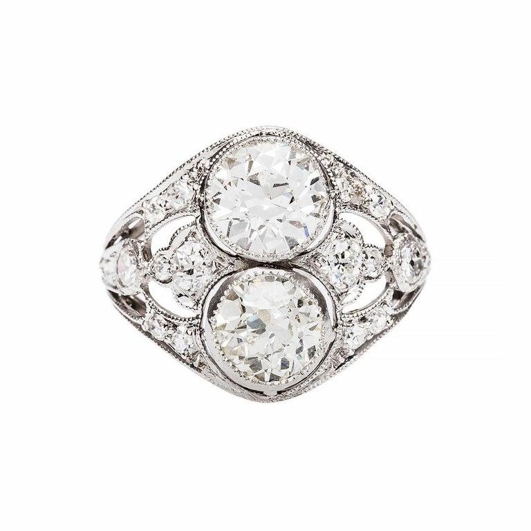 Art Deco Double Diamond Platinum Engagement Ring