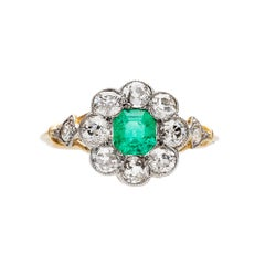 Victorian Emerald and Diamond Gold and Platinum Halo Engagement Ring