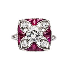 Art Deco Ruby Diamond Platinum Vintage Inspired Engagement Ring