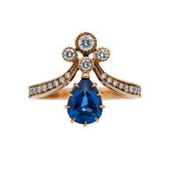 Victorian Vintage Inspired Ceylon Sapphire Tiara Engagement Ring