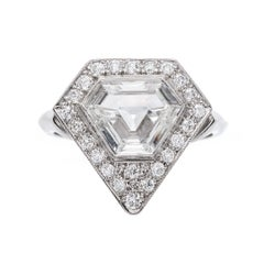 Art Deco Vintage Inspired 1.46 Carat Triangle Step Cut Diamond Platinum Ring