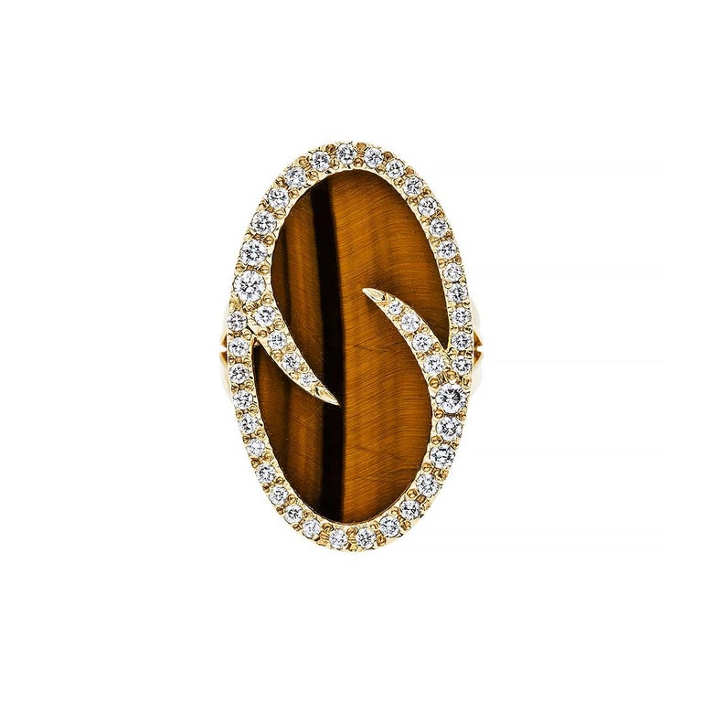 Retro Chic Tiger's Eye and Diamond Cocktail Ring