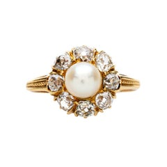 Victorian Pearl and Diamond Halo Cluster Engagement Ring