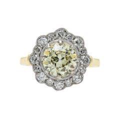 Edwardian Vintage Inspired 1.85 Carat Diamond Halo Engagement Ring