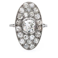 Art Deco Diamond Platinum Navette Ring