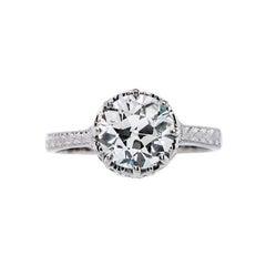 1.91 Carat Vintage Inspired Platinum Engagement Ring