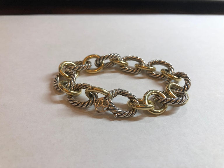 David Yurman Oval Cable Link Bracelet 18k Yellow Gold And Sterling Silver 750 925 Brand Hallmark