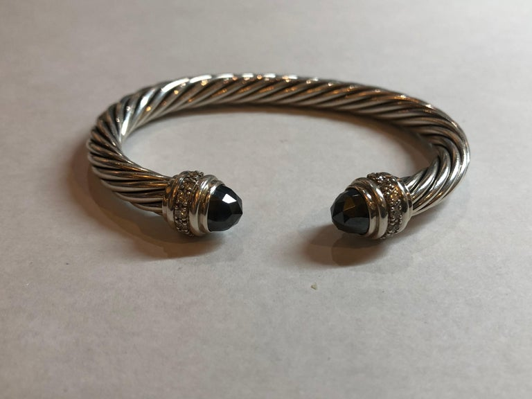 David Yurman Sterling Silver Onyx And Diamond Cable Bracelet 925 Hallmark D Y Signature High Polish Blakened