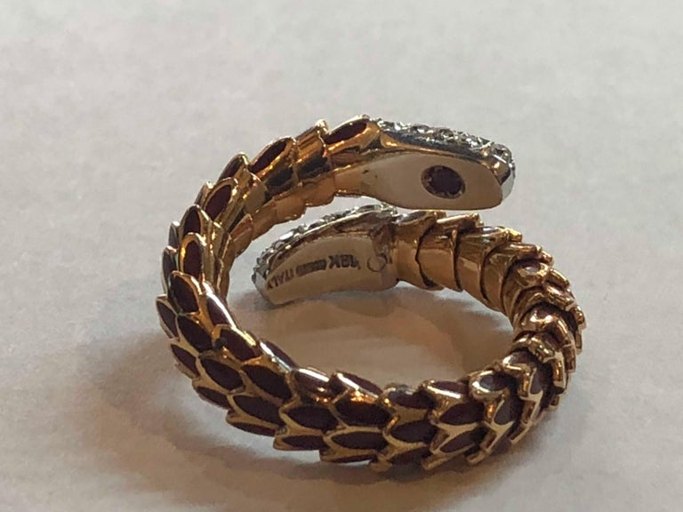 Round Cut Roberto Coin 40 Diamond Enamel 18 Karat Rose Gold Snake Design Ring Flexible For Sale