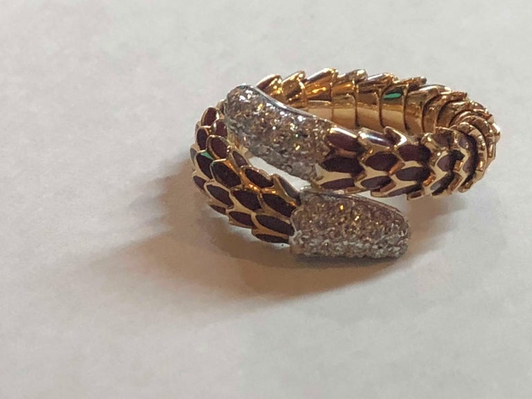 Roberto Coin 40 Diamond Enamel 18 Karat Rose Gold Snake Design Ring Flexible In Excellent Condition For Sale In Fort Lauderdale, FL
