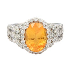 GIA Certified 3.46 Carat Unheated Yellow-Orange Sapphire Fashion Ring