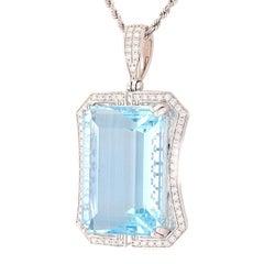 GIA Certified 54.80 Carat Aquamarine Pendant Necklace